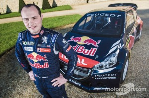 Davy Jeanney poses for a portrait with the 2015 season Rallycross Peugeot 208 in Meudon, France on April 6th, 2015 // Flavien Duhamel/Red Bull Content Pool // P-20150408-00212 // Usage for editorial use only // Please go to www.redbullcontentpool.com for further information. //